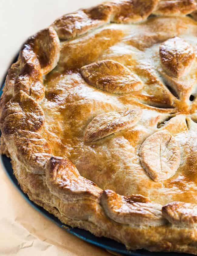 A baked pie with golden crust