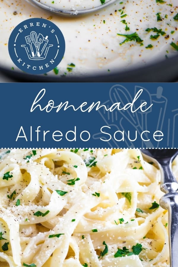 a dish of pasta with alfredo sauce