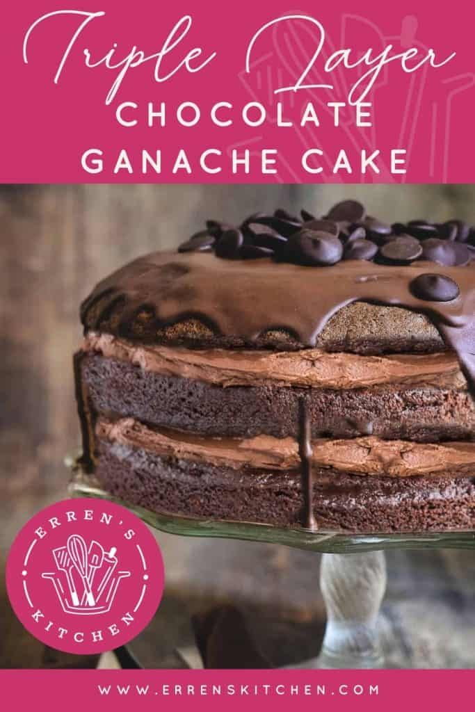 Triple Layer Chocolate Ganache Cake on a cake stand ready to serve