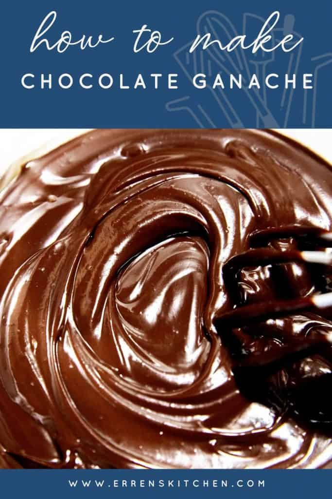 overhead shot of chocolate ganache being swirled with a whisk