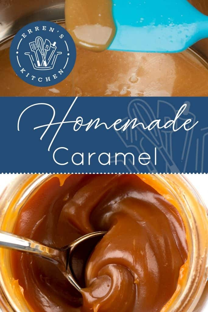 a jar of caramel from above with a spoon in it