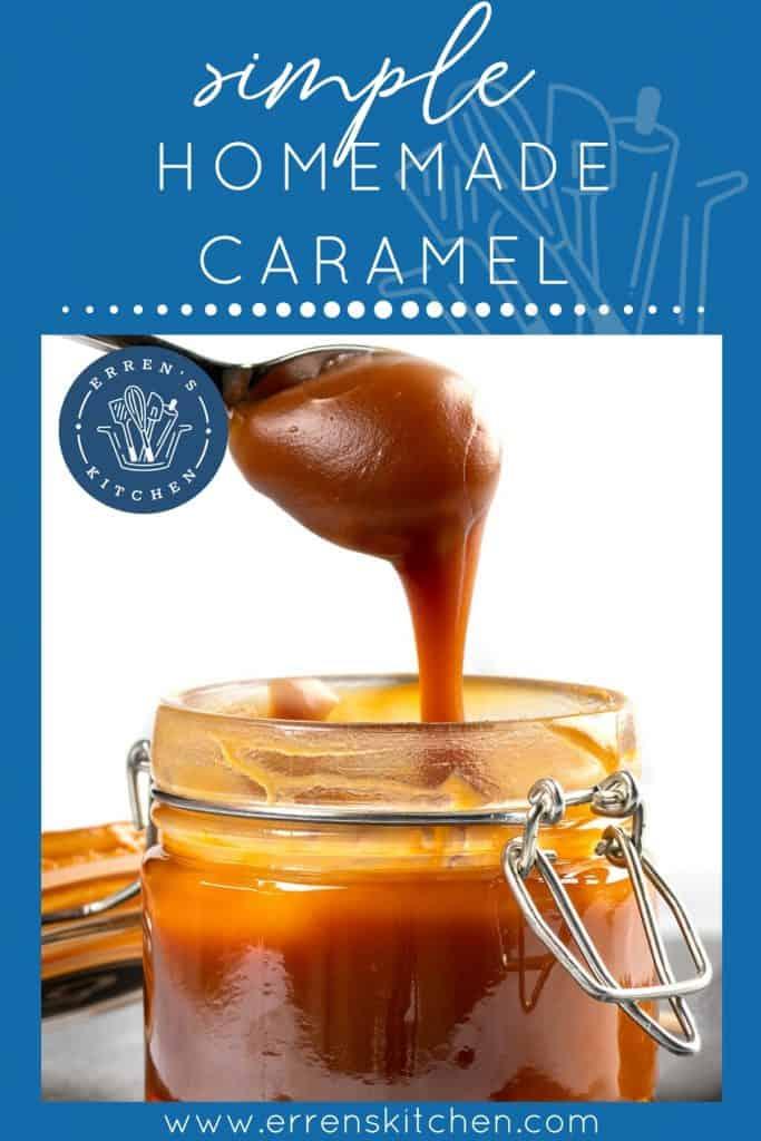 Spoon with tasty caramel sauce over jar on table.