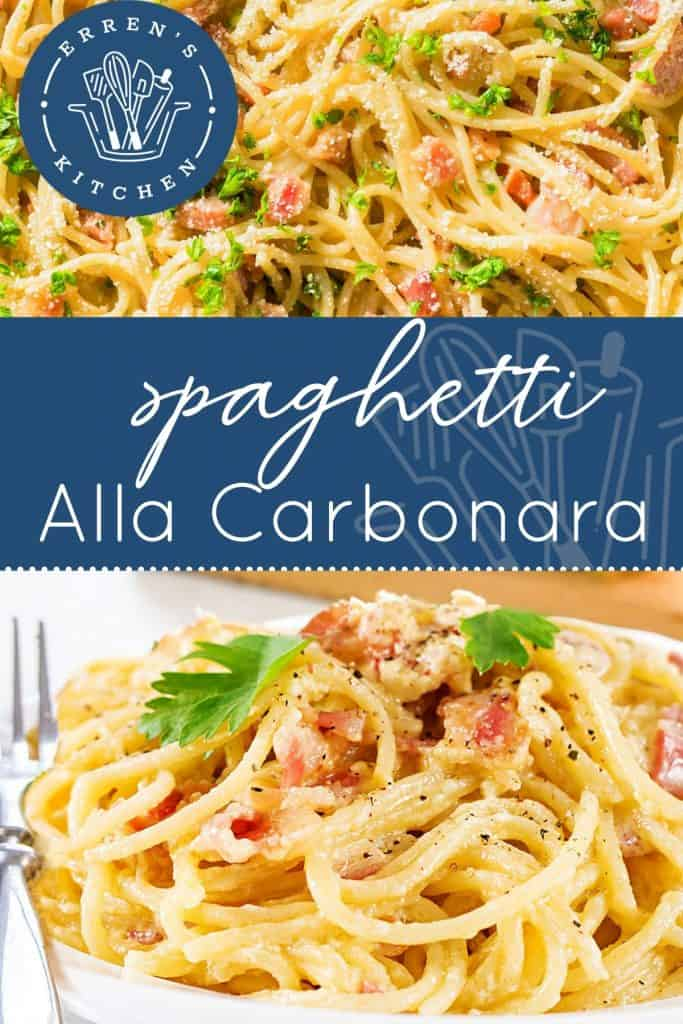 A pan of Spaghetti Alla Carbonara topped with parsley