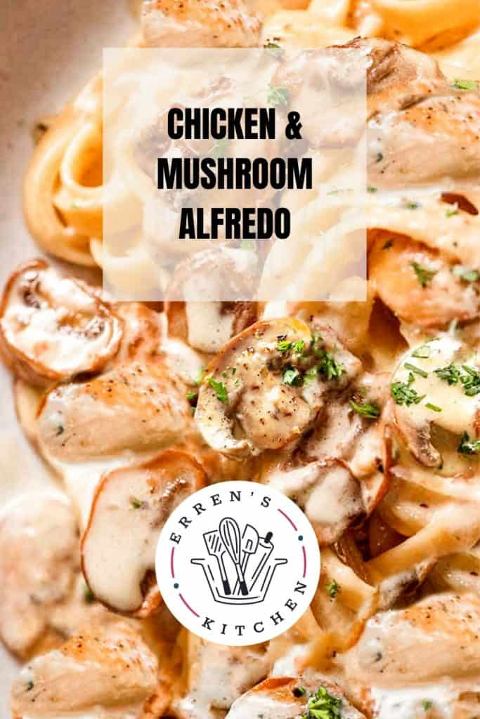 picture of chicken and mushroom alfredo on a plate
