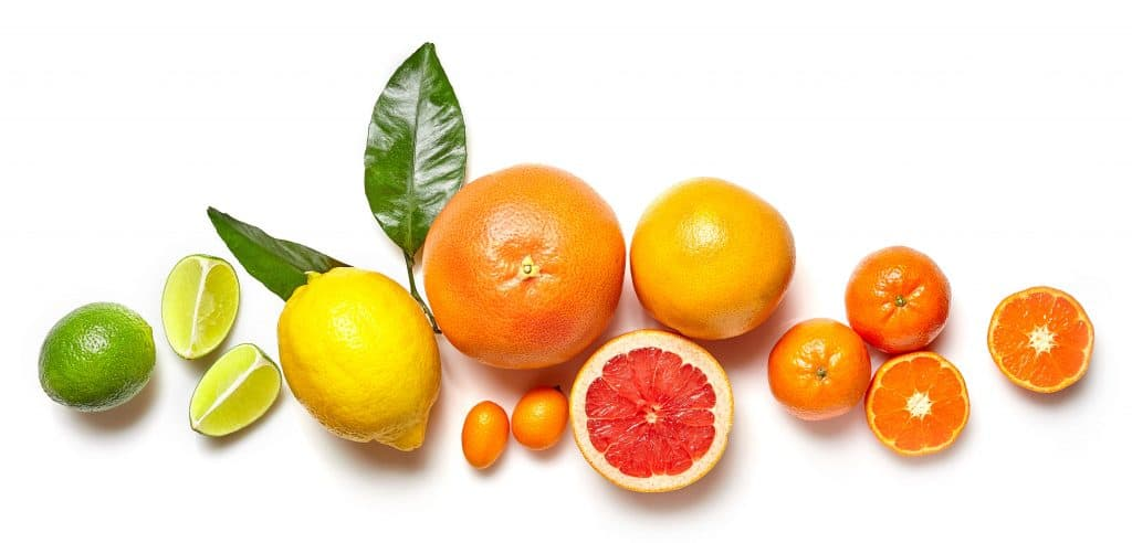 composition of various citrus fruits isolated on white background, top view