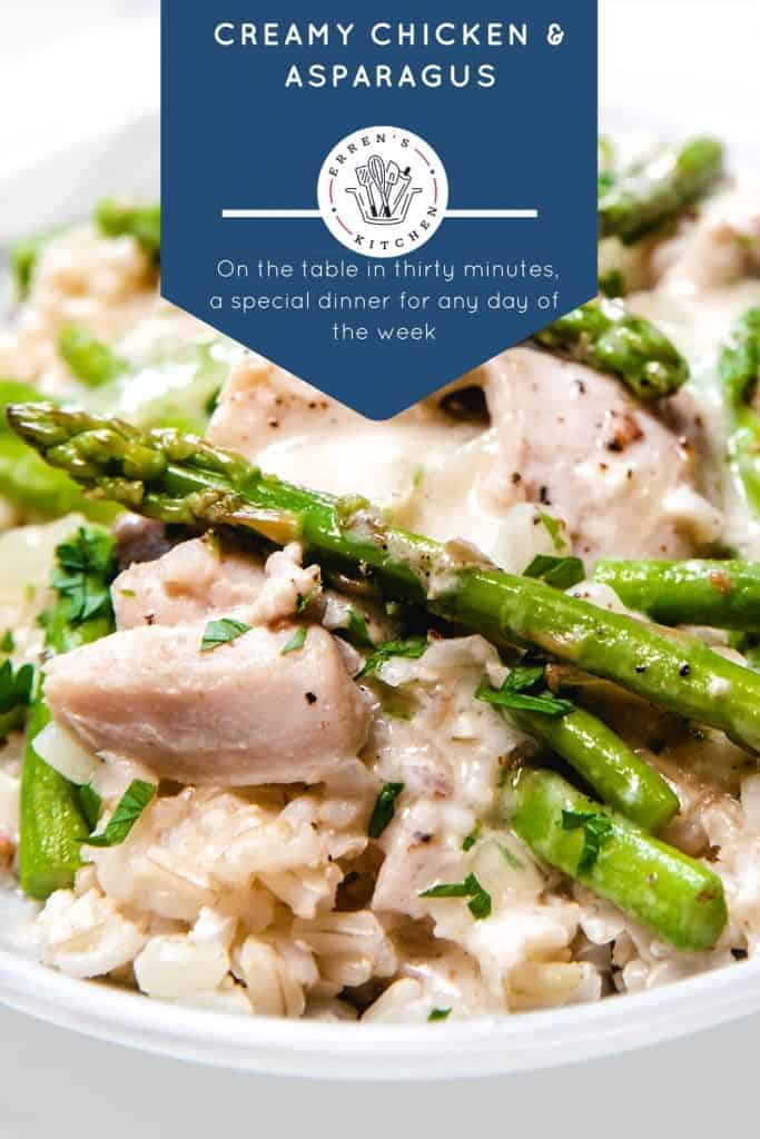 a bowl of Chicken and Asparagus in a cream sauce