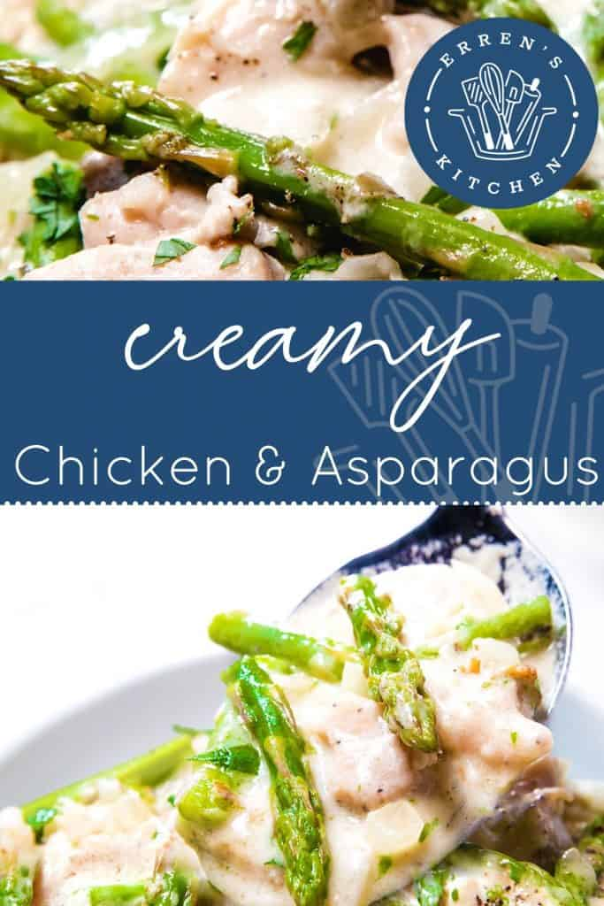 a spoon of chicken and Asparagus in a cream sauce