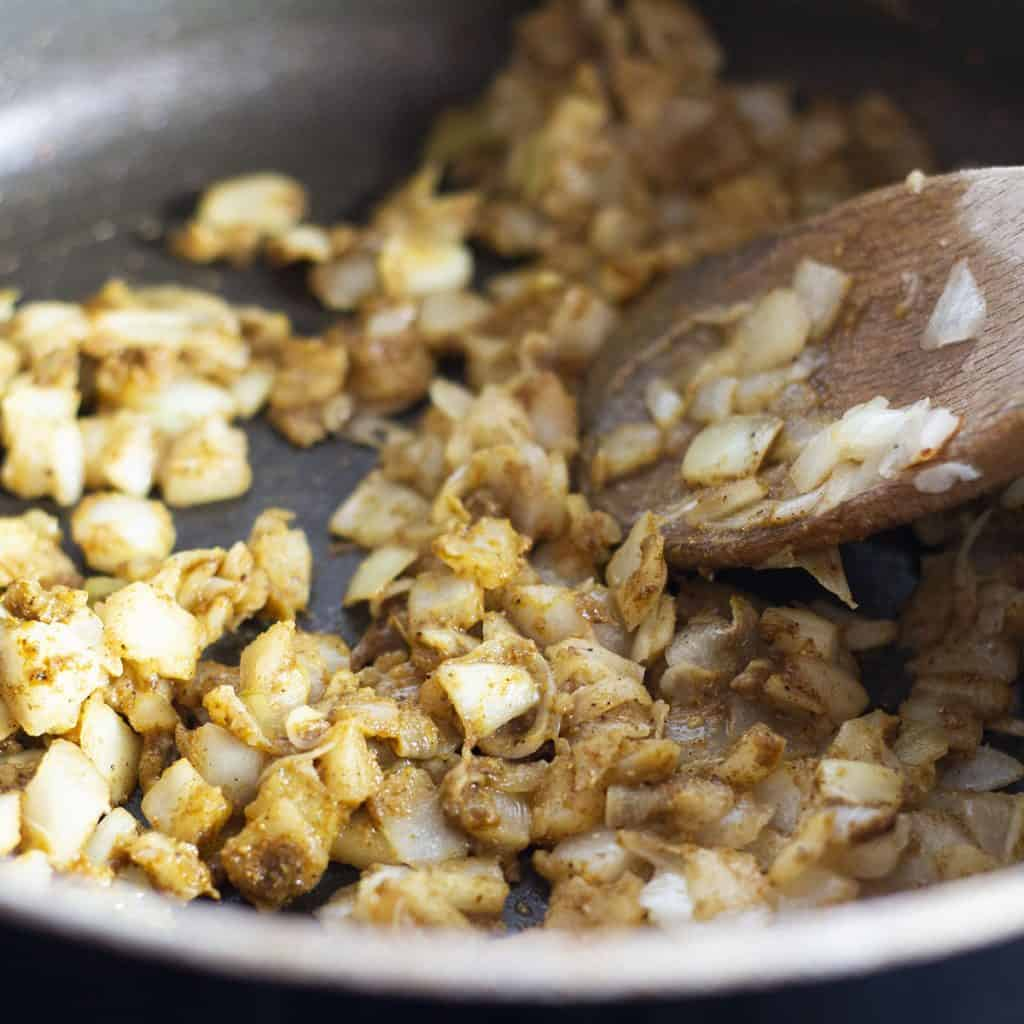 curry powder added to the onion mixture