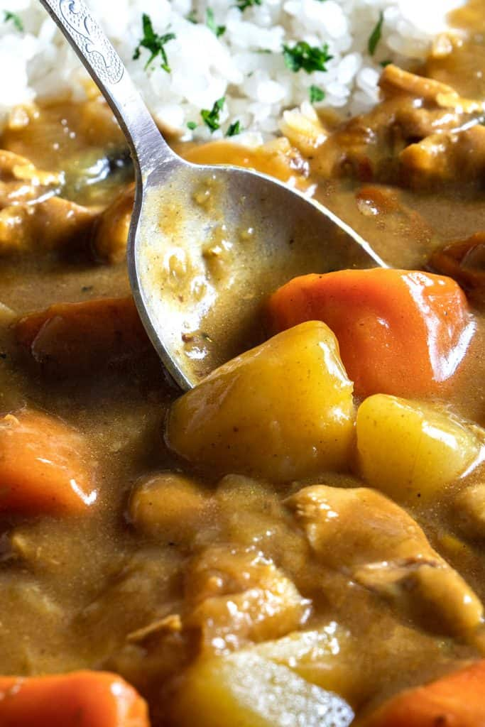 A spoon in a dish of Japanese Curry with chicken potatoes and carrots