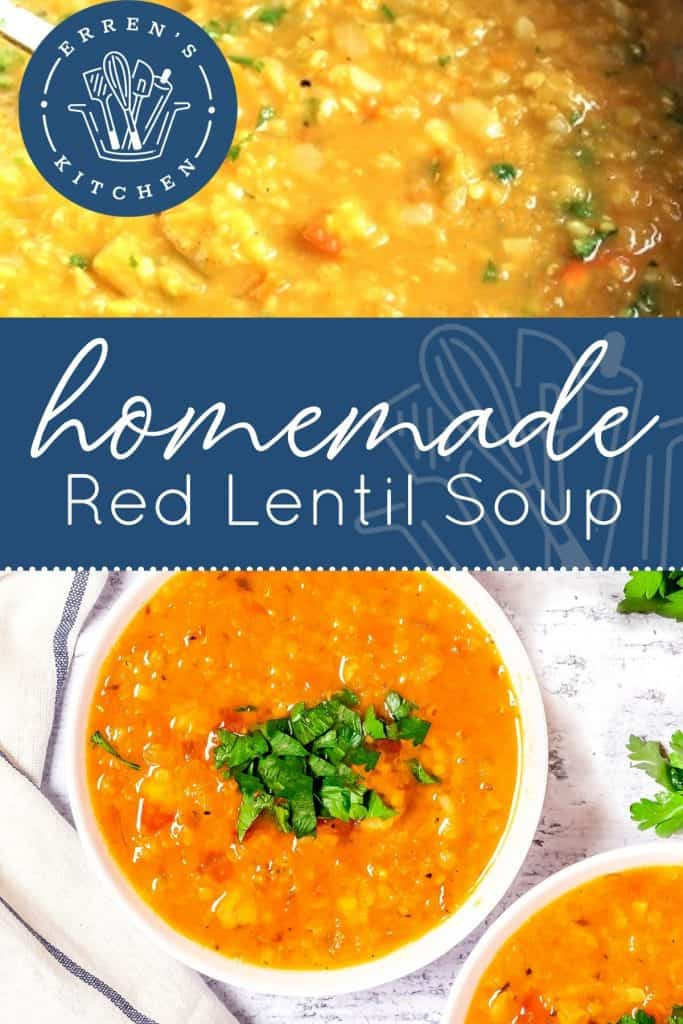 a bowl of red lentil soup with chopped cilantro on top