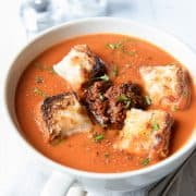 Tomato Soup with Cheesy Croutons and red pesto