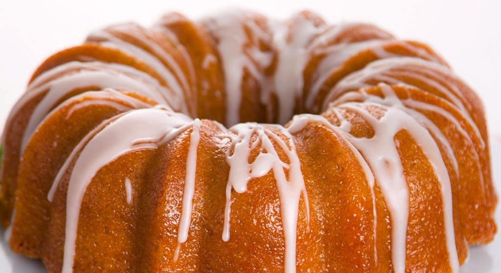 Entire round bundt cake frosted glaze