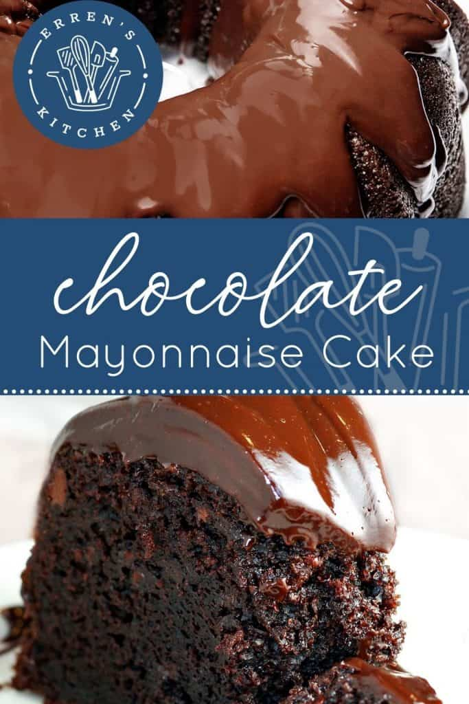 two pictures of a whole chocolate mayonnaise cake and a slice of cake