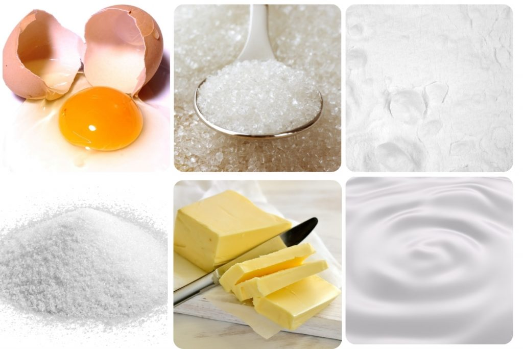 a collage of ingredients for scones