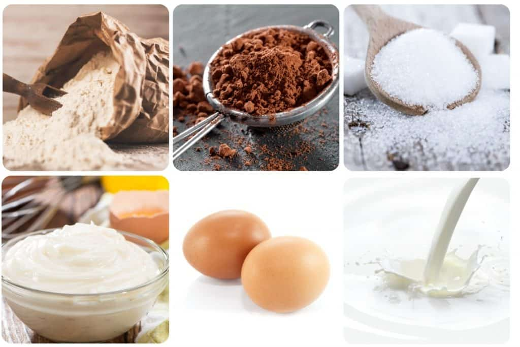 a collage of ingredeints for chocolate mayonnaise cake