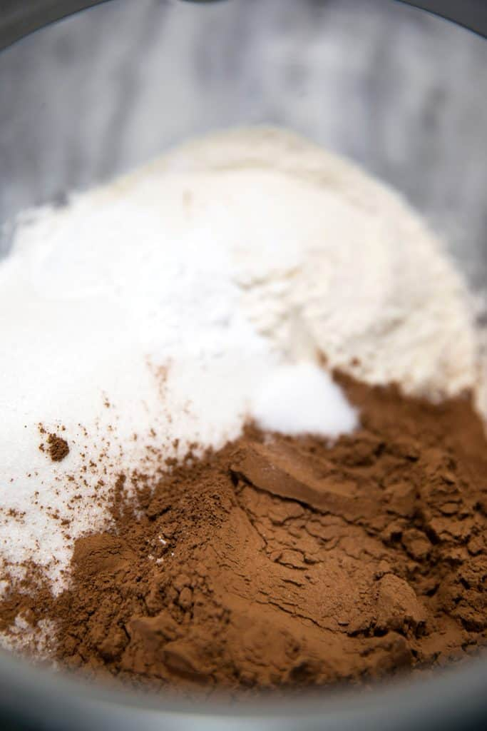 flour and cocoa powder in a bowl ready to combine