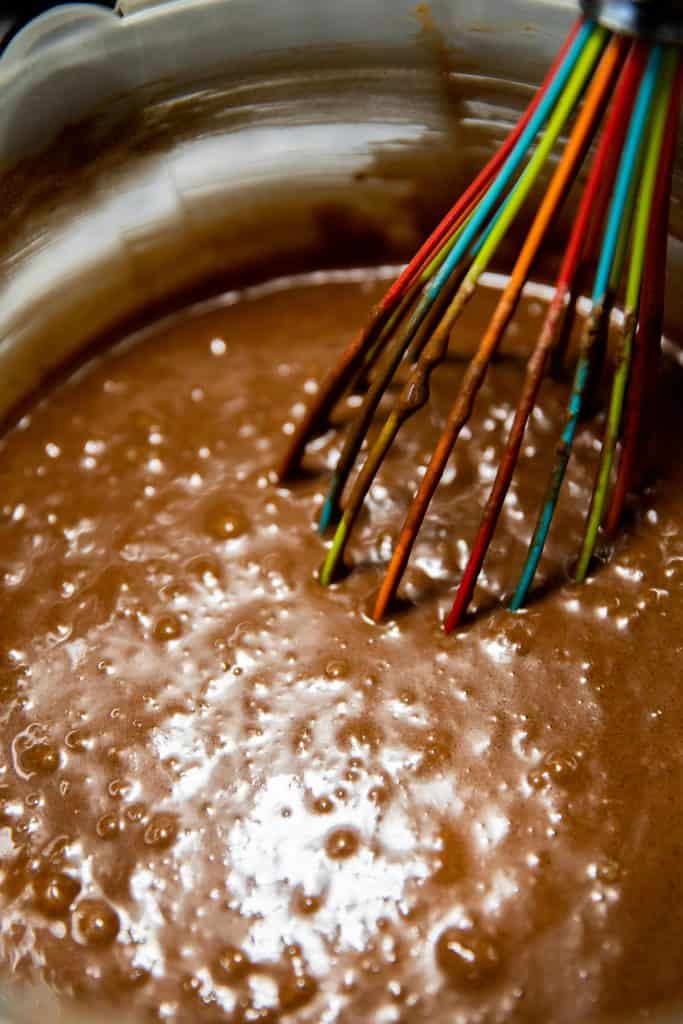 chocolate cake mixture after combining
