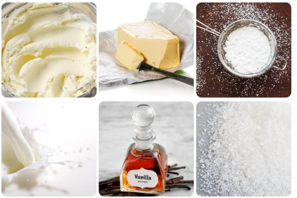 butter, cream cheese, powdered sugar, cream, vanilla and salt