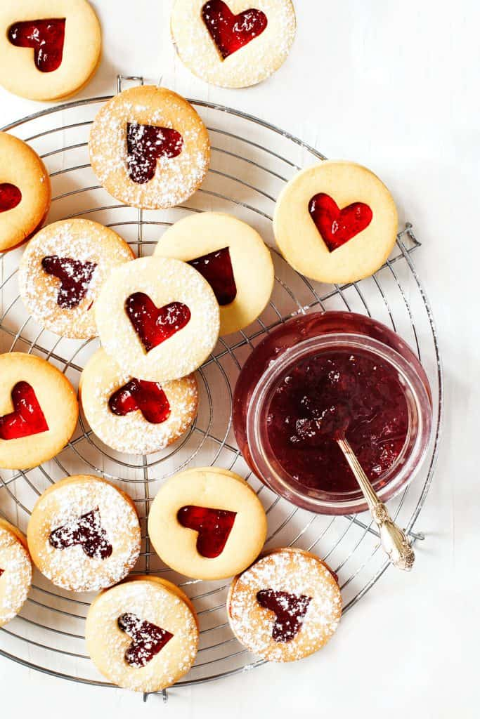 Traditional Linzer cookies with raspberry jam