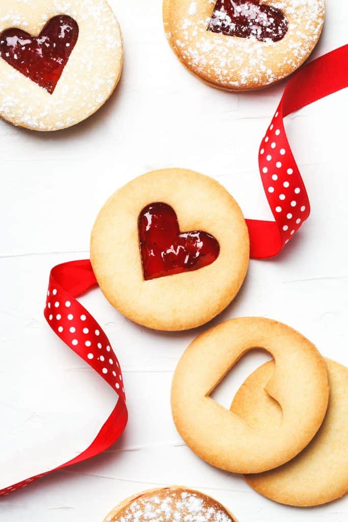 Linzer cookies with a heart cut out
