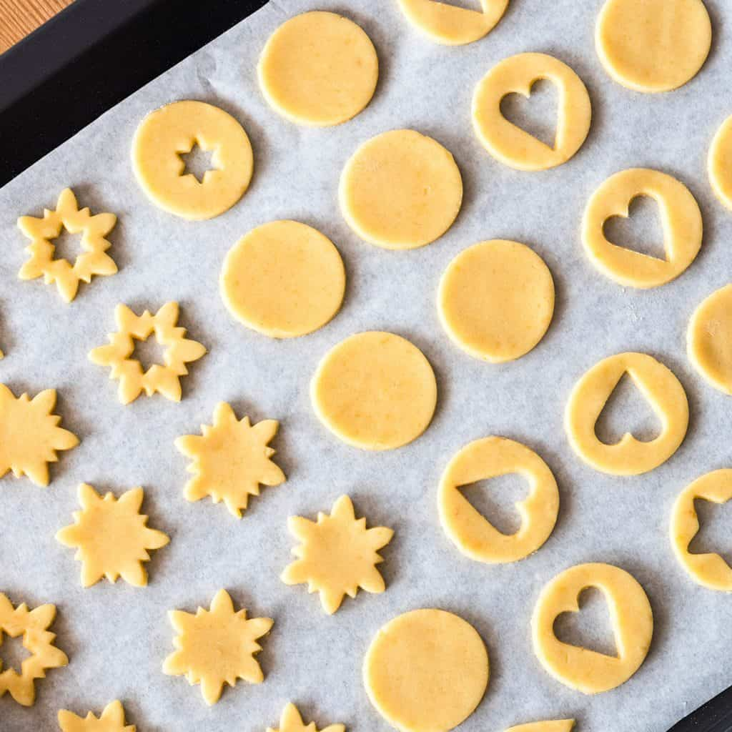 Cut cookies on a cookie sheet