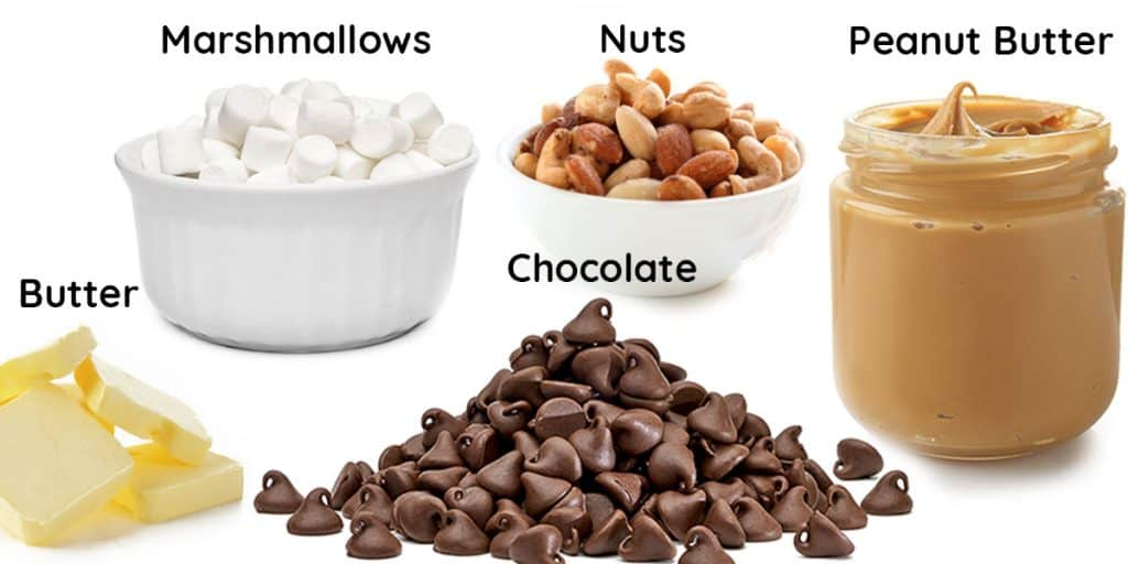 a photo of chocolate, marshmallows, nuts, butter, and peanut butter