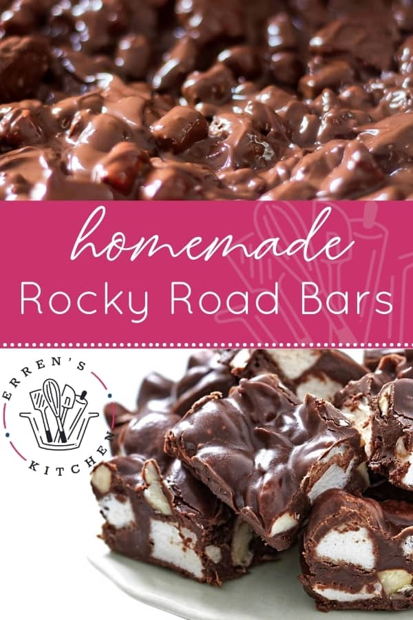 rocky road bars piled onto a dessert dish