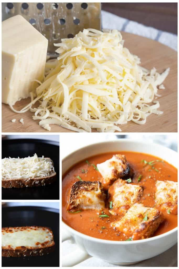 a collection of images showing how to make cheese on toast