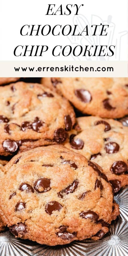 chocolate chip cookies on a baking tray out of the oven