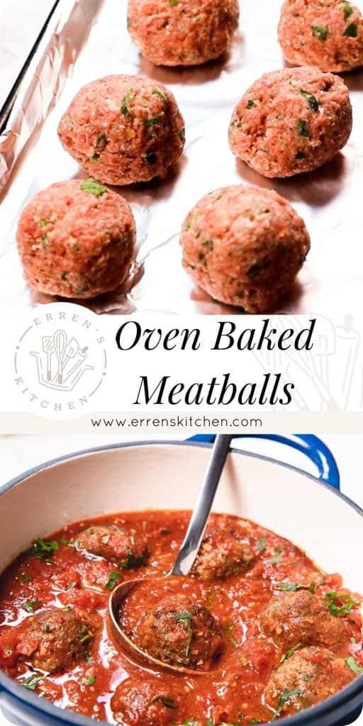 a collage of two pictures of meatballs ready to bake and in sauce