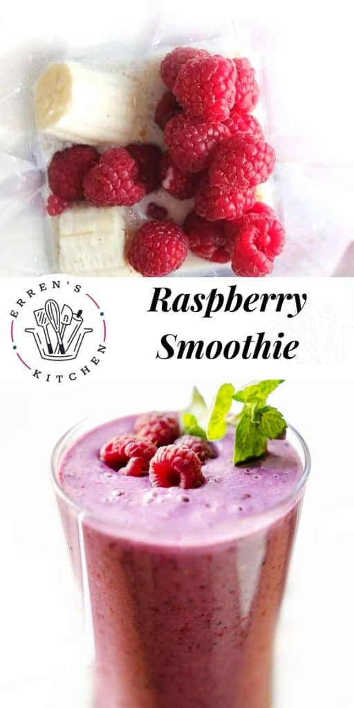 a raspberry smoothie in a glass garnished with fresh raspberries and mint leaves