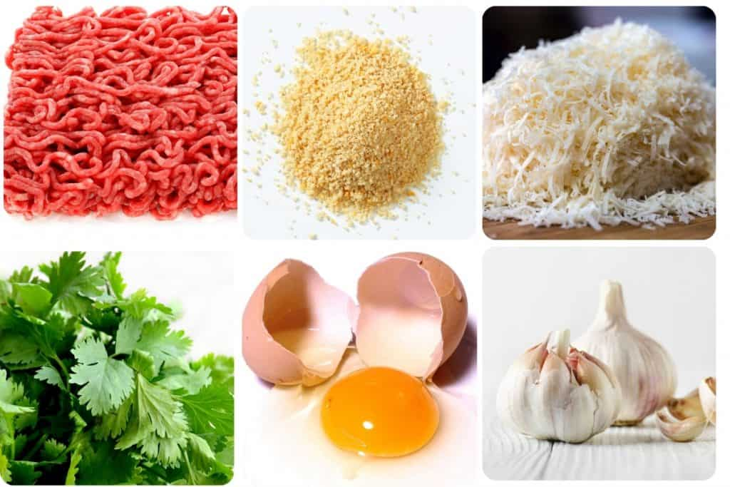 a collage of ingredients for meatballs, minced beef, breadcrumbs, parmesan, parsley, eggs, garlic