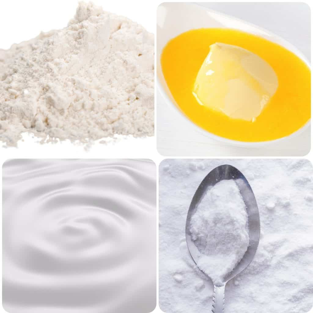 a collage of four ingredients, flour, butter, cream and baking soda