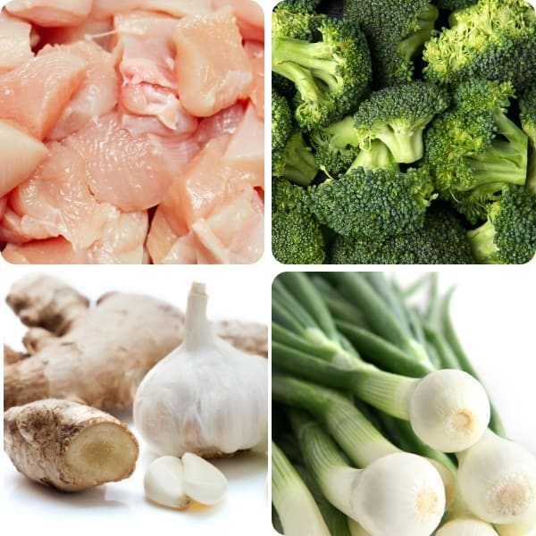 a photo of chicken, broccoli, garic, ginger and green onions