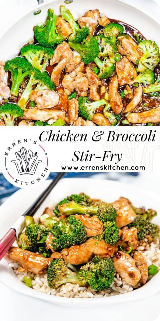 A chicken and Broccoli stir fry piled high on a white plate