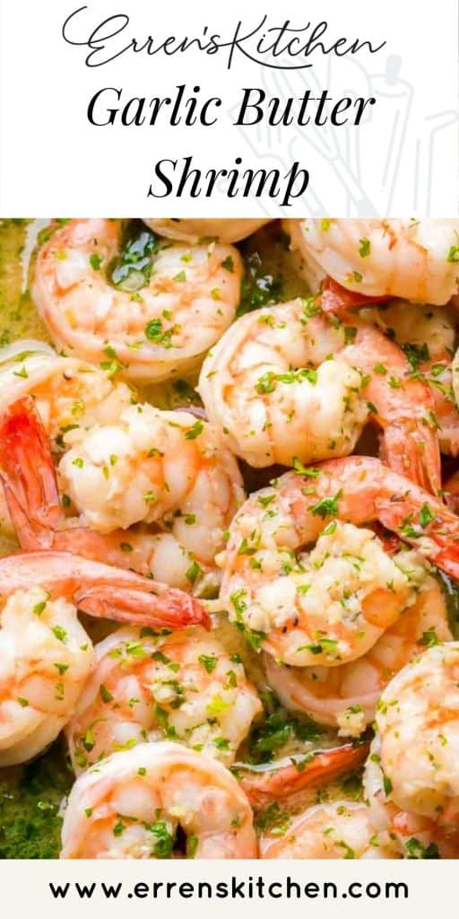 garlic butter shrimp in a pan ready to serve