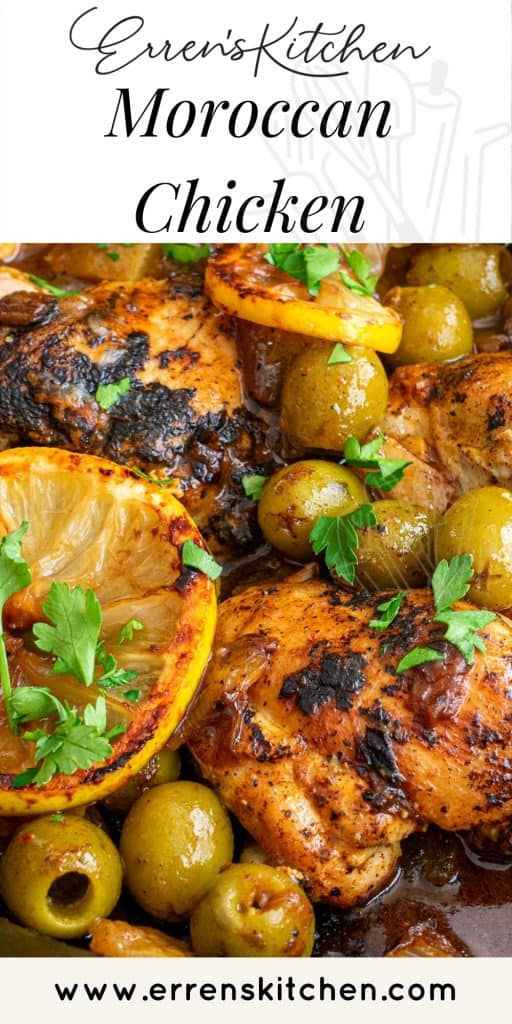 Moroccan Lemon Olive Chicken: Chicken thighs, olives, and lemons