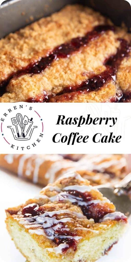 a piece of raspberry coffee cake ready to eat