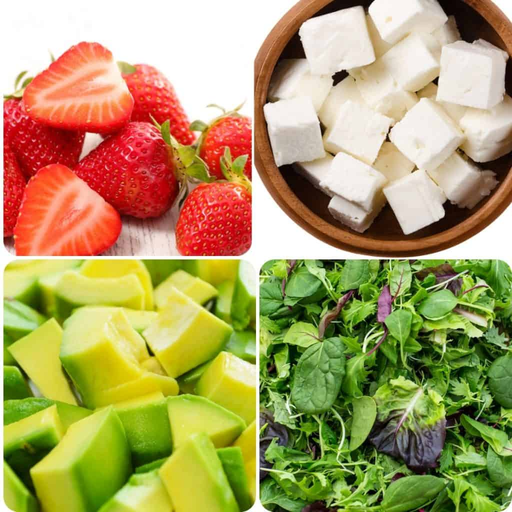 arugula, avocado, feta cheese and strawberries