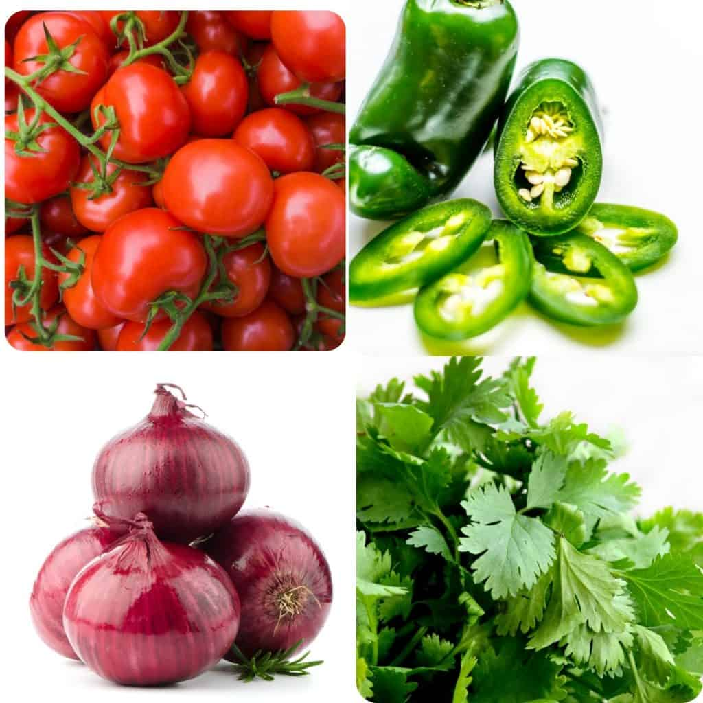 tomatoes, peppers, onion and cilantro