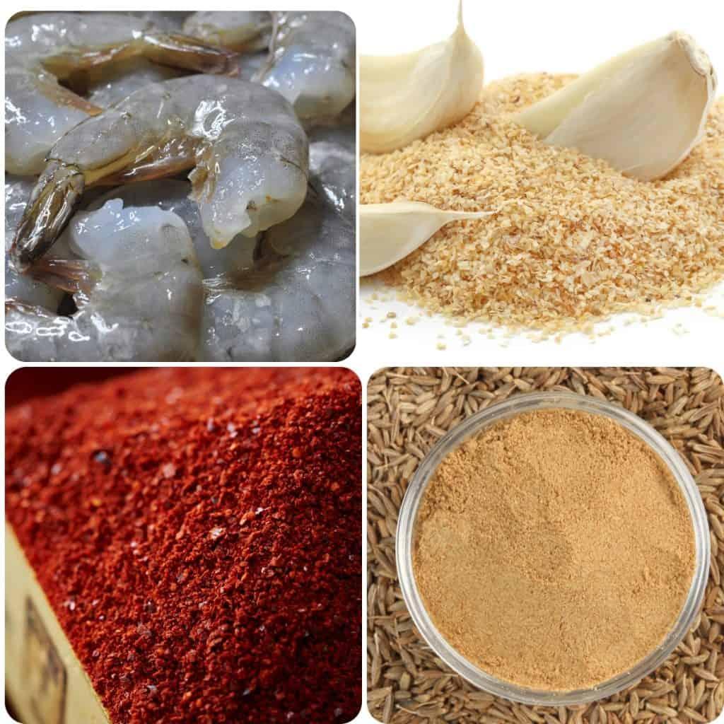 raw shrimp, garlic powder, chili powder and cumin