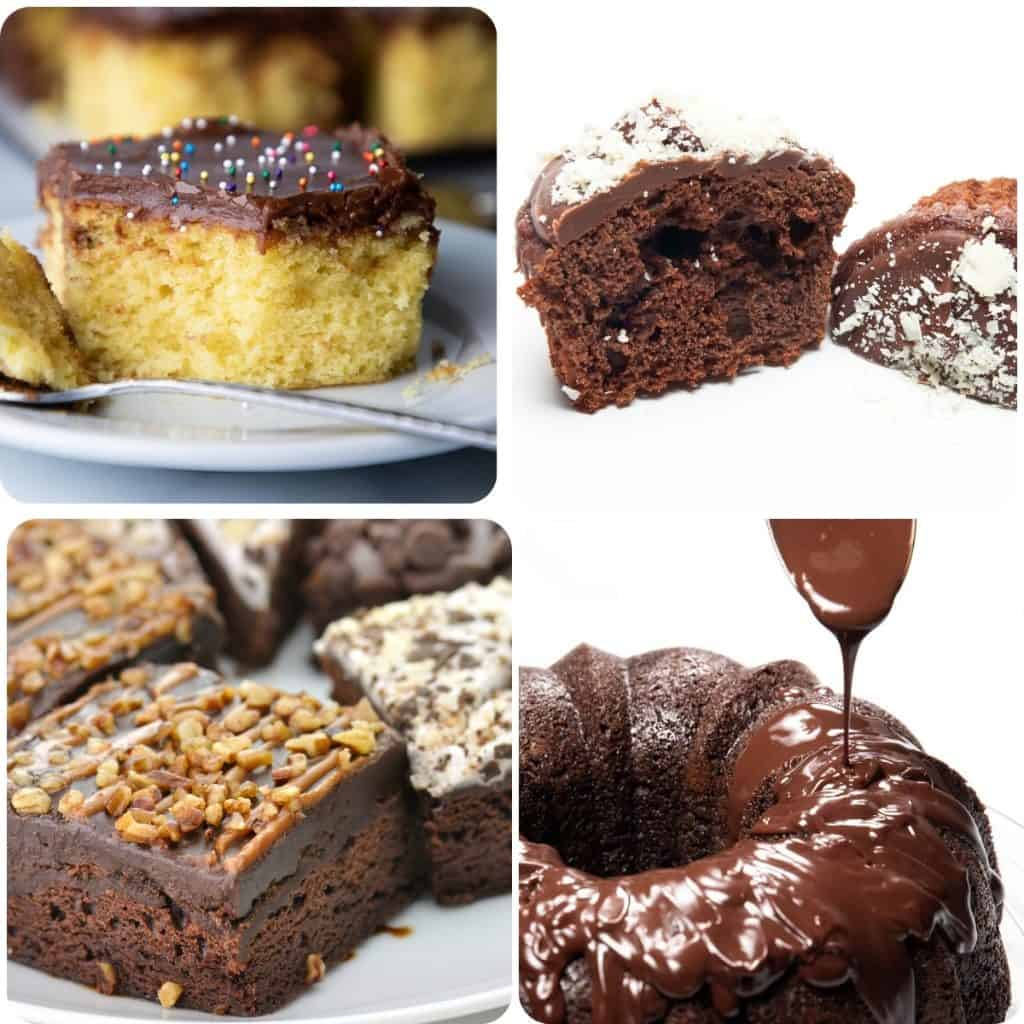 a selection of phtos showing cakes and desserts with chocolate frosting