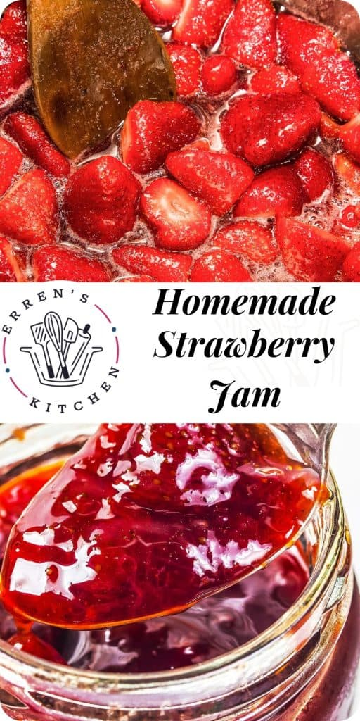 Strawberry jam being spooned out of a jar