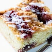 a slice of Raspberry Coffee Cake