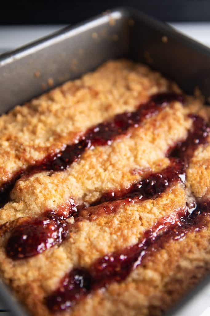 raspberry coffee cake straight from the oven