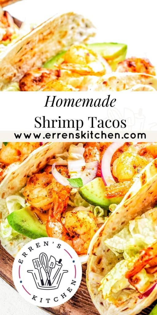 shrimp tacos on a wood serving platter