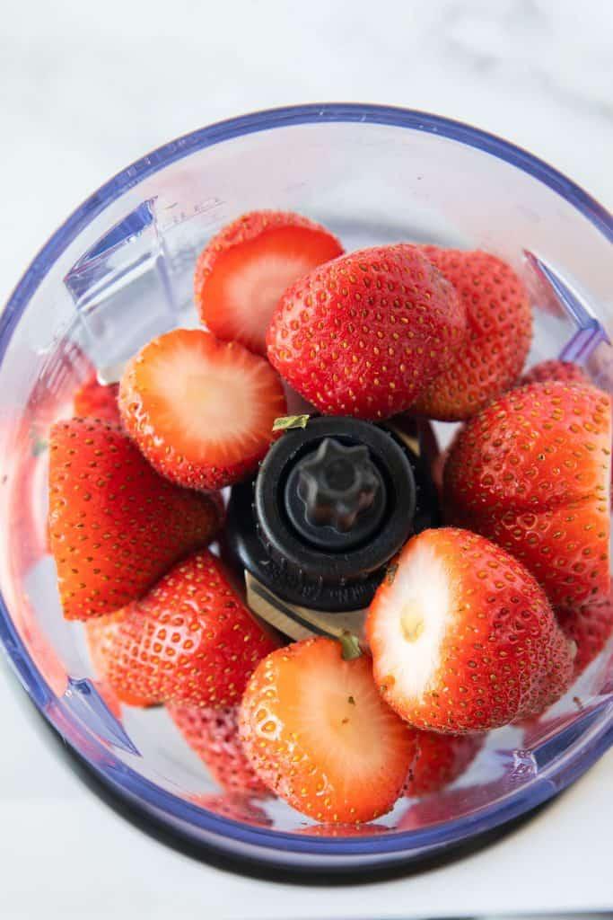 strawberries in a blender