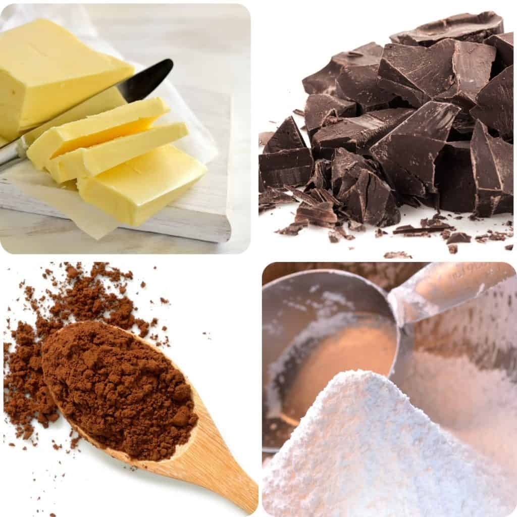 a photo of butter, chocolate, cocoa powder, and sugar