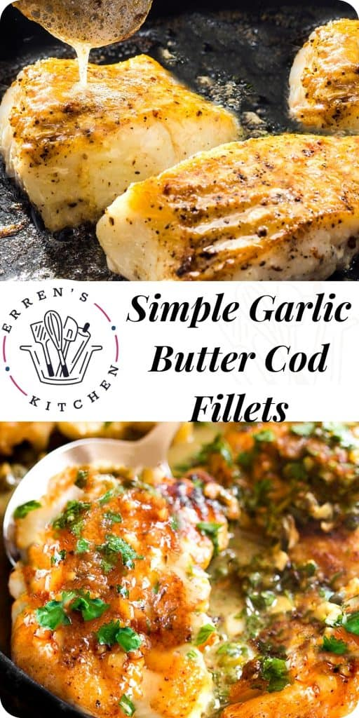 garlic butter cod fillets ready to serve