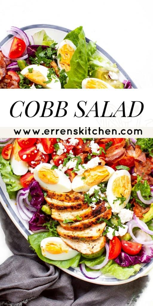 overhead shot of cob salad layered with eggs, bacon, tomatoes lettuce etc